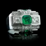 Art Deco emerald and diamond ring, circa 1935.