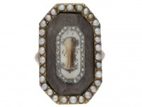 Antique Rose Diamond Pearl Mourning Ring berganza hatton garden
