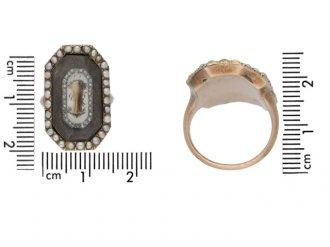 Antique Rose Diamond Pearl Mourning Ring berganza hatton garden