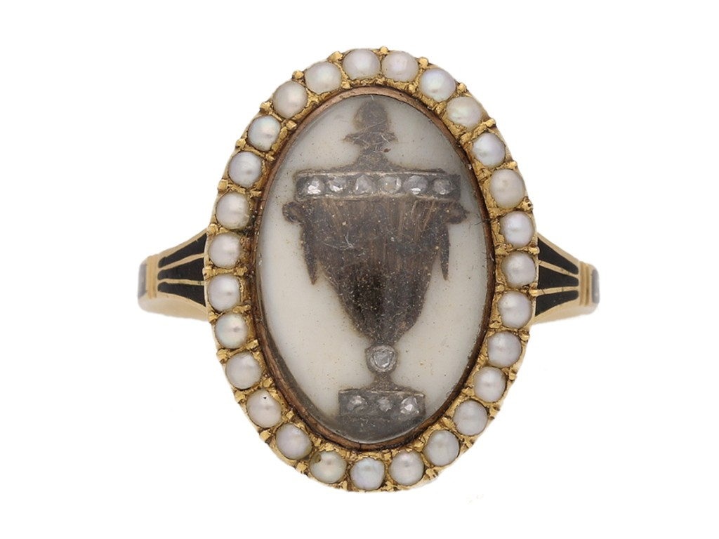 front view Antique diamond and pearl 'urn' memorial ring, circa 1780.