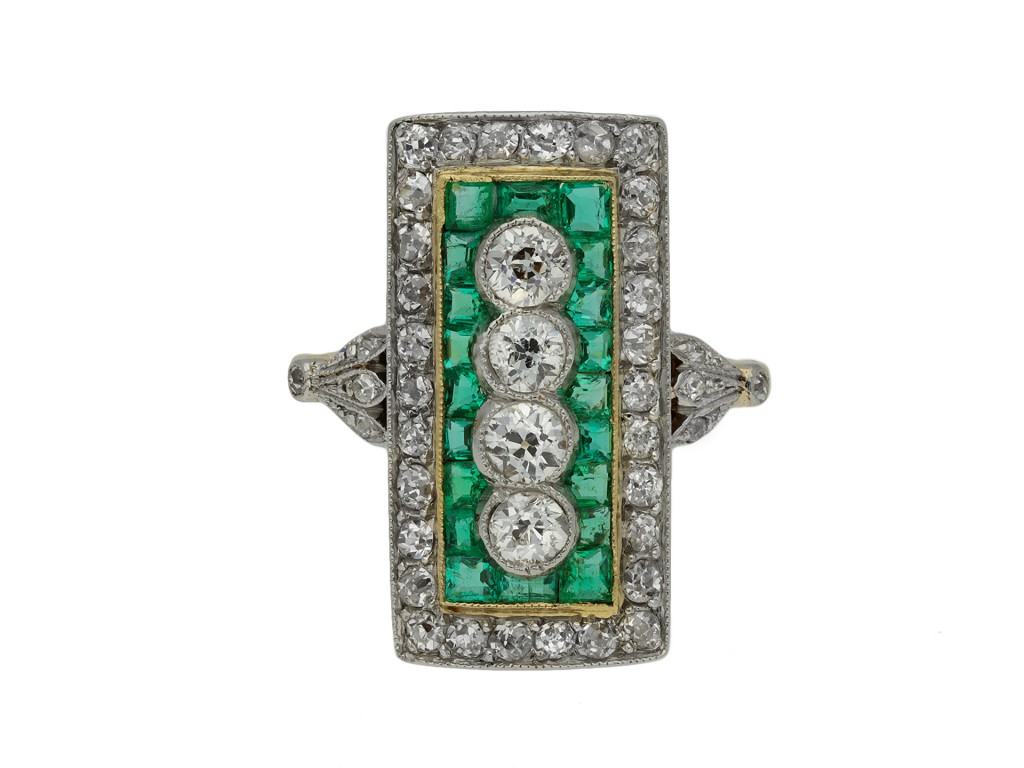 Edwardian diamond and emerald cluster ring berganza hatton garden