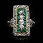 Edwardian diamond and emerald cluster ring, circa 1905.