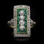 Edwardian diamond and emerald cluster ring, circa 1905.