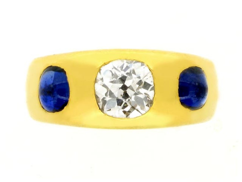 front view Antique diamond and sapphire Gypsy ring, circa 1900.