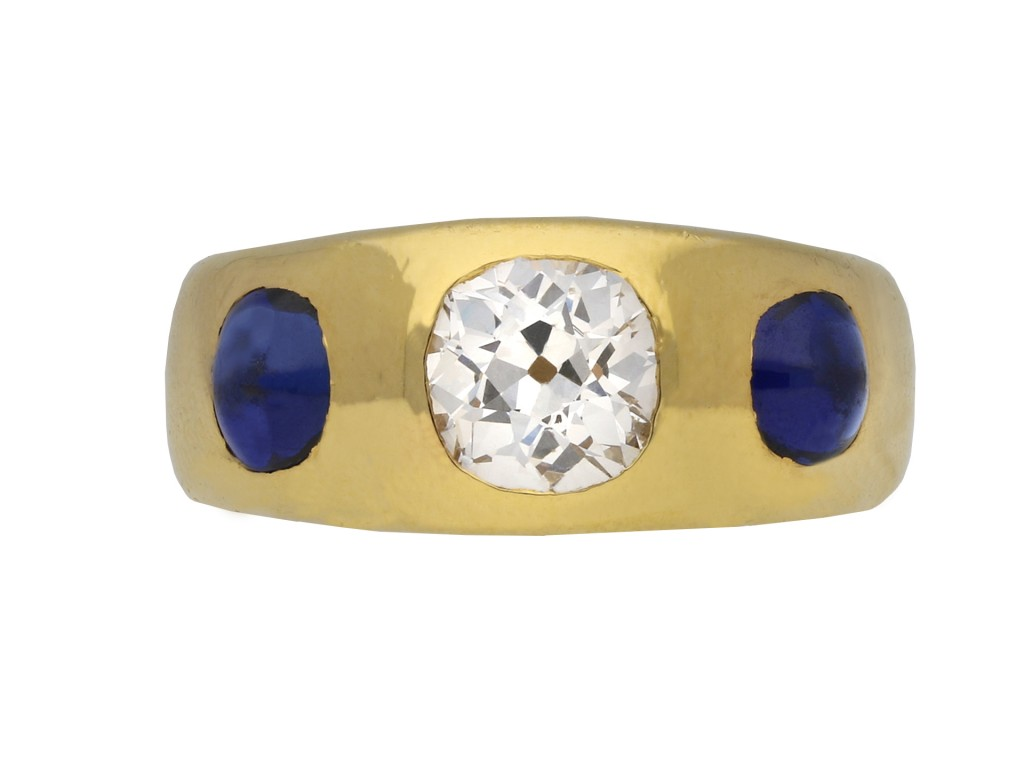 Victorian diamond and sapphire gypsy ring berganza hatton garden