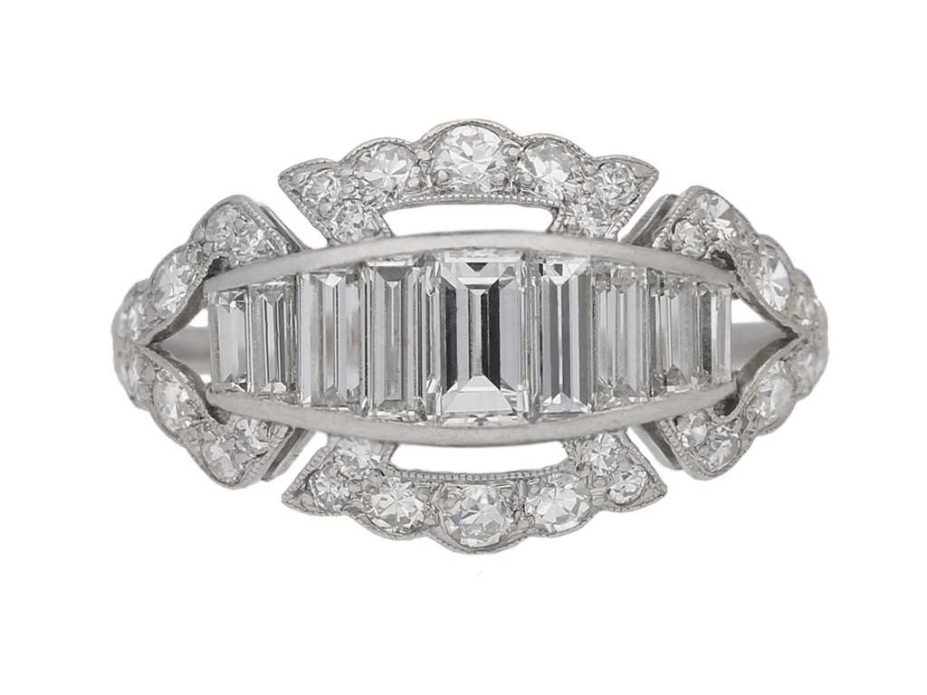 Art Deco baguette and round diamond ring, circa 1930. berganza hatton garden