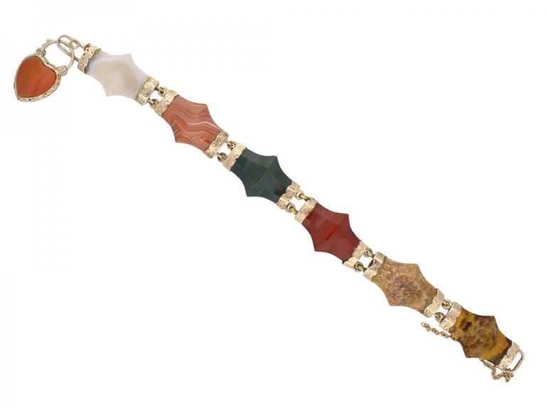 Antique Scottish agate bracelet gold berganza hatton garden