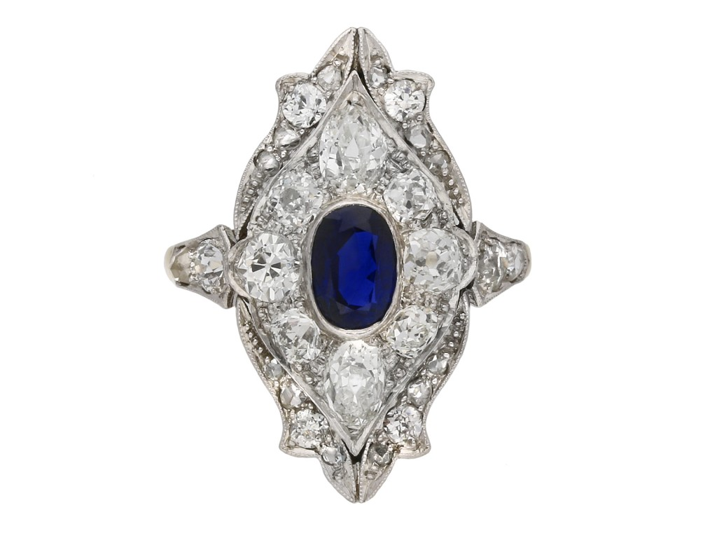 Edwardian sapphire and diamond ring berganza hatton garden