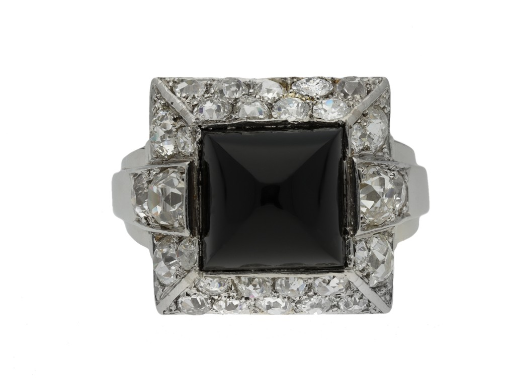 Art Deco onyx and diamond ring berganza hatton garden