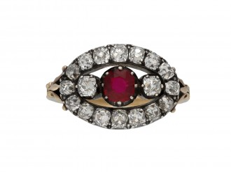 Antique ruby and diamond saddle ring berganza hatton garden