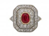 Antique ruby diamond cluster ring berganza hatton garden