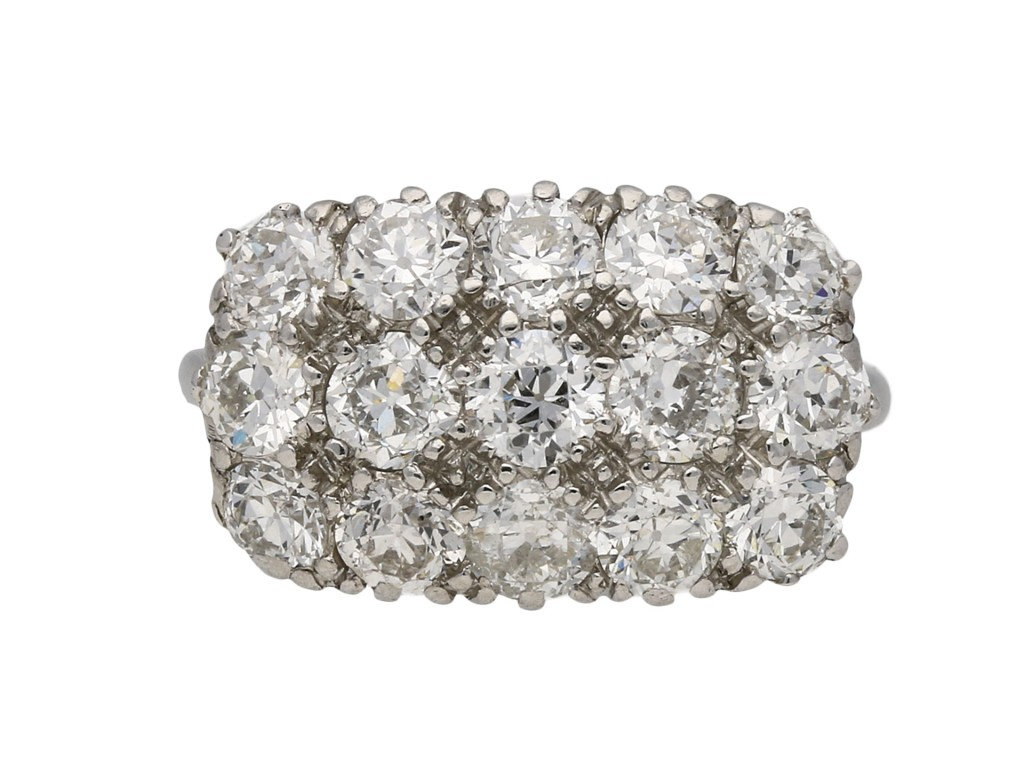 Three row diamond cluster ring berganza hatton garden