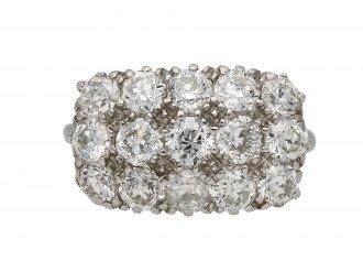 Three row diamond cluster ring berganza hatton garden