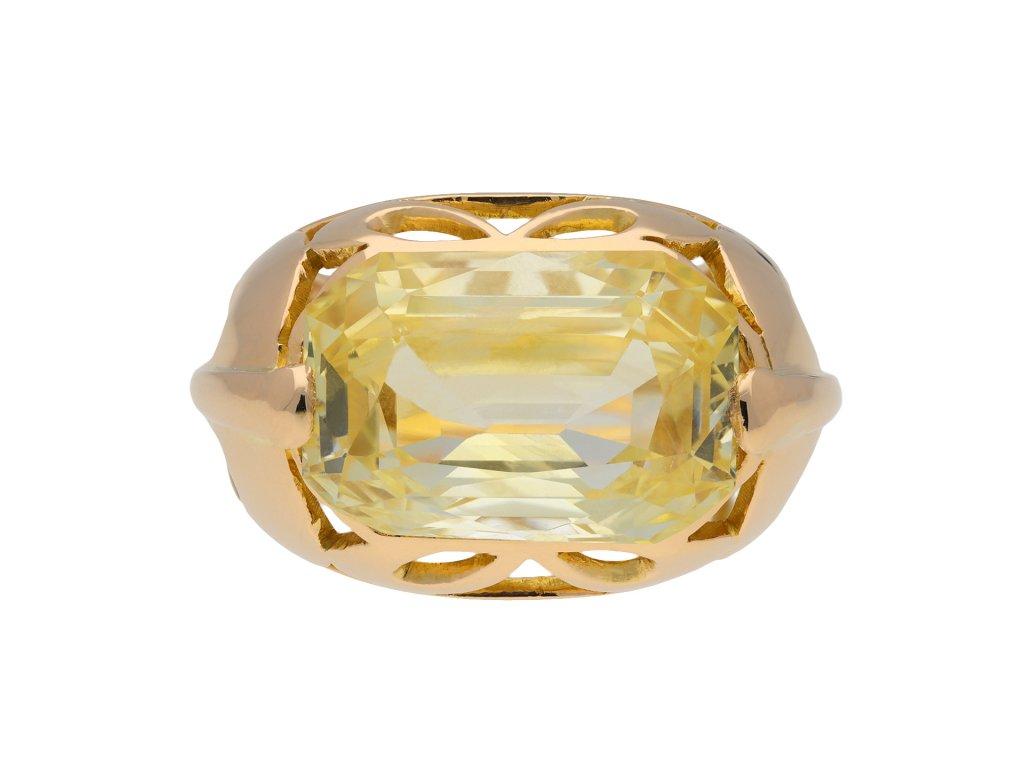 Yellow Ceylon sapphire ring hatton garden