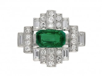 Colombian emerald diamond cluster ring berganza hatton garden