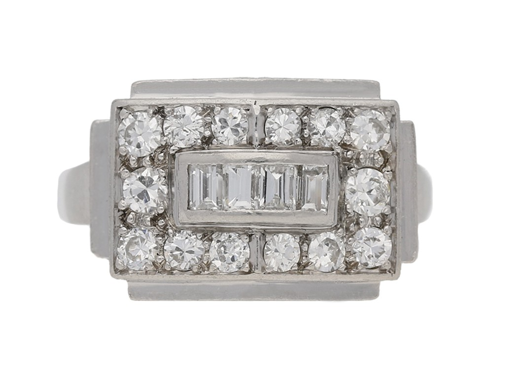 Art Deco diamond ring, French, circa 1935. berganza hatton garden