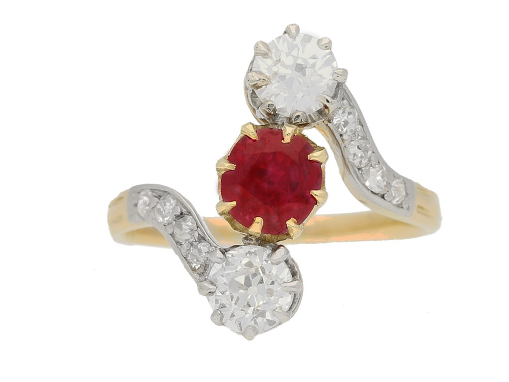 Art Nouveau Burmese ruby diamond ring berganza hatton garden