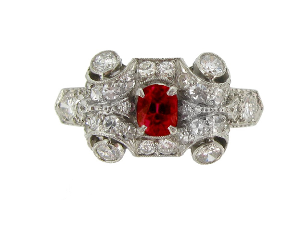 front view Ruby and diamond cluster ring, circa 1950.