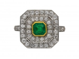 Edwardian Colombian emerald diamond ring berganza hatton garden