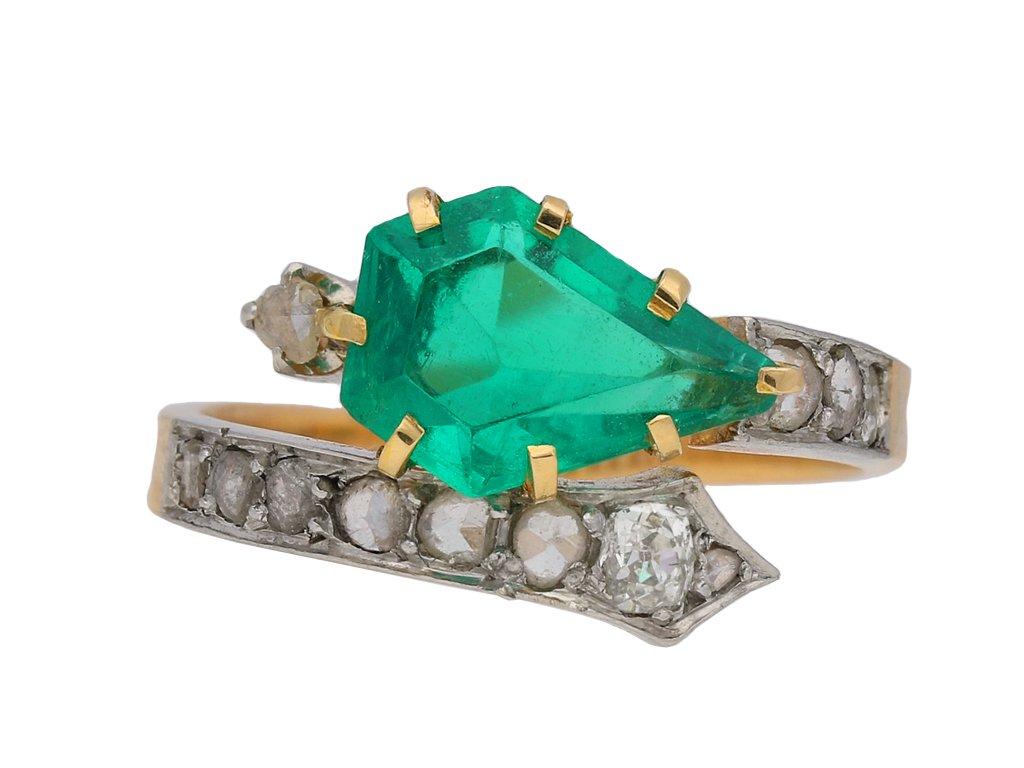 Art Nouveau emerald and diamond ring, berganza hatton garden