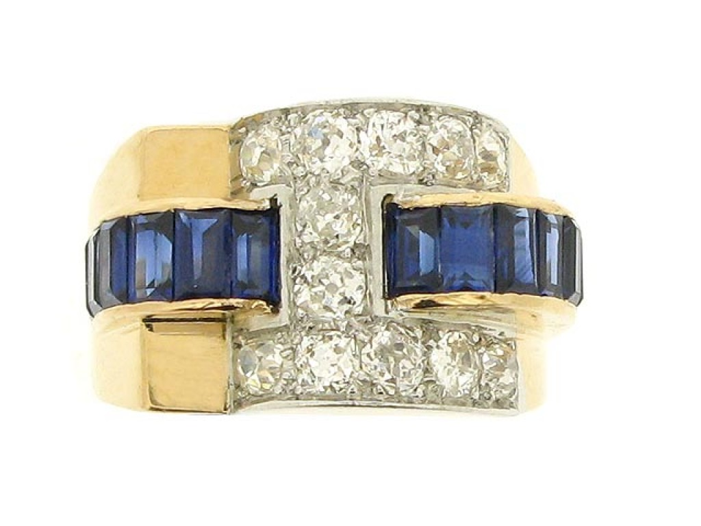 front view Sapphire and diamond cocktail ring, circa 1940.