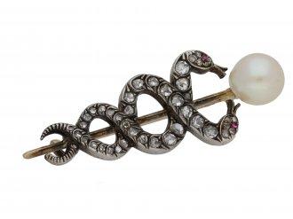 Victorian pearl diamond caduceus brooch berganza hatton garden