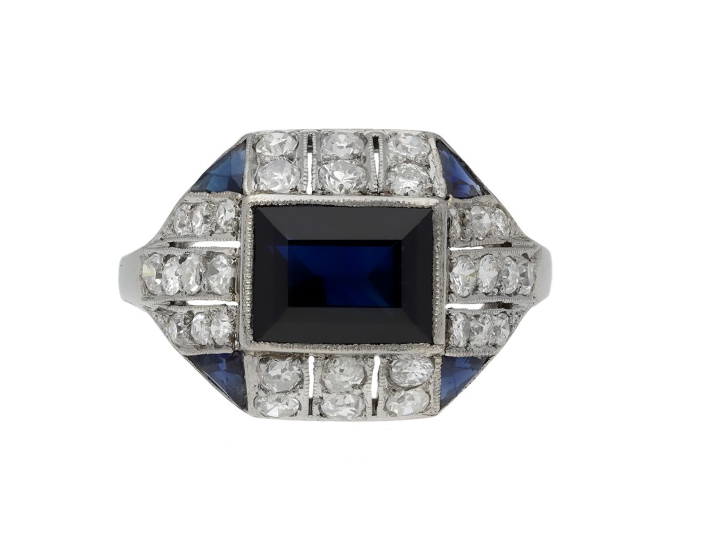 Art Deco sapphire and diamond cluster ring berganza hatton garden