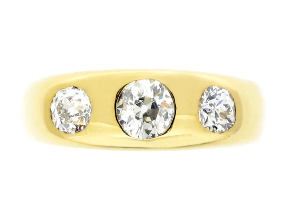 front view Diamond three stone gypsy ring,
