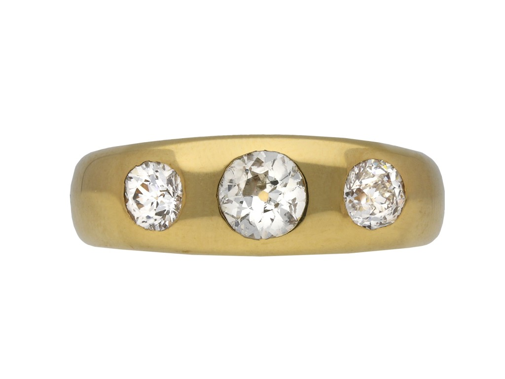 Diamond three stone gypsy ring berganza hatton garden
