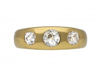 Diamond three stone gypsy ring berganza hatton garden