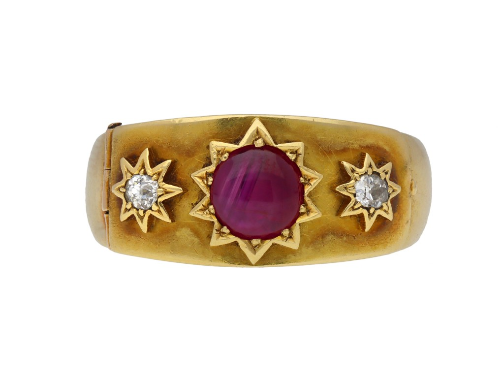Antique star ruby and diamond locket ring berganza hatton garden