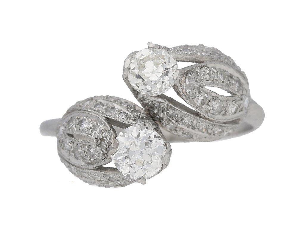 front view vintage Edward Petri diamond ring berganza hatton garden