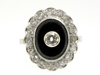 front-view-Onyx and diamond coronet cluster ring, circa 1930.