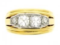 Four stone diamond ring, French, circa 1945.