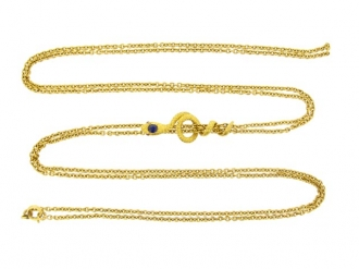 front-view-Antique gold long guard chain with snake slide, French, circa 1895.