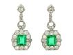 alt='Art Deco emerald and diamond earrings, circa 1935.'