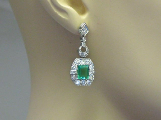 Art Deco emerald and diamond earrings, circa 1935.