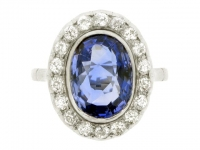 Sapphire and diamond cluster ring, English, circa 1920.