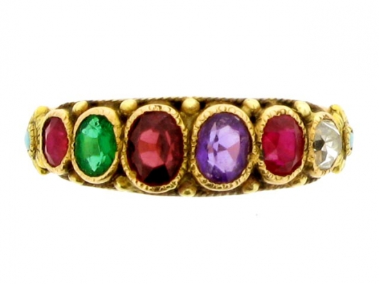 front-view-Antique REGARD ring, circa 1850.