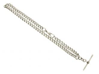 Sterling silver Albert chain, English.