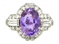front view Ellis Bros. Art Deco purple sapphire and diamond ring