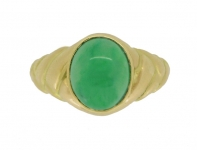 front-view-Antique solitaire jade locket ring, circa 1870.