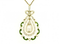 Natural pearl, diamond and enamel pendant, circa 1900.