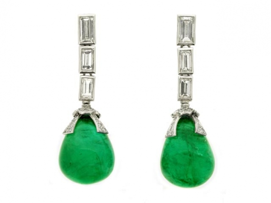 Drop emerald and diamond earrings, circa 1950.
