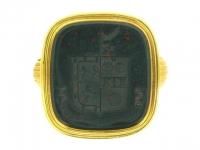 front-view-Heraldic bloodstone signet ring, English, 18th century.