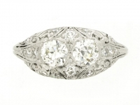 front-view-Two stone diamond cluster ring, circa 1920.