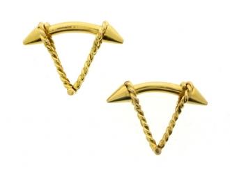 18 carat yellow gold cufflinks, French, circa 1960.