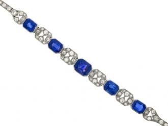 front-view-Art Deco sapphire and diamond bracelet, circa 1935.