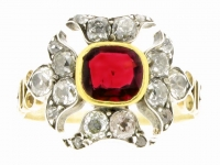 Georgian antique ruby and diamond ring, circa 1820.