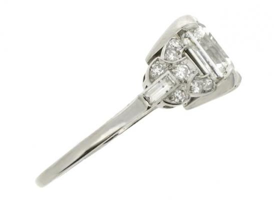 side-veiw-Art Deco asscher cut diamond ring, circa 1920.